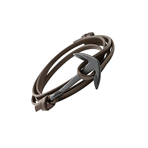 GLANZWEAR Wrap Bracelet PU Synthetic Leather with Ship Anchor in Black Leather Black Edition, Maritime Ankle Strap for Women and Men, Unisex Bracelet in Many Dark Blue