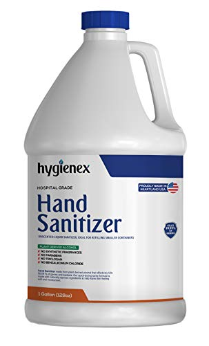 Hygienex Hospital Grade Hand Sanitizer 1 Gallon Liquid 128 Fl Oz. Refill, Unscented, 80% Alcohol Made in USA WHO Approved Formula