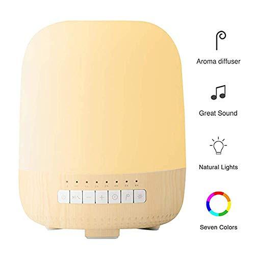 5 En-1-altavoz Bluetooth esencial difusor de aceites, 200Ml aromaterapia difusor y humidificador de vapor frío con 7 cambio de color de la luz, de trabajo de hasta 6 horas, control inteligente de APP