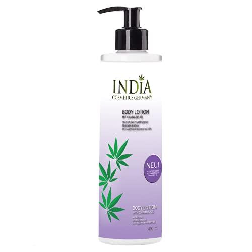 Premium Bodylotion von India Cosmetics Germany mit Hanfsamen Öl- Extrakt Premiumqualität in 400ml XXL Größe ohne Parabene. Antiaging, Antifaltencreme. Perfekte Hautpflege.