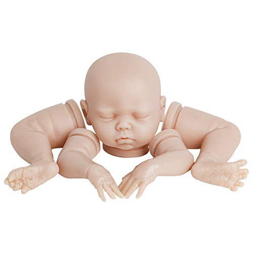 POHOVE Kits de muñecas Reborn de 18 Pulgadas con Ojos Cerrados, Cabeza de Vinilo para el hogar, 3/4 extremidades, Kit de muñecas sin Pintar para recién Nacidos, Suministros para Hacer muñecas