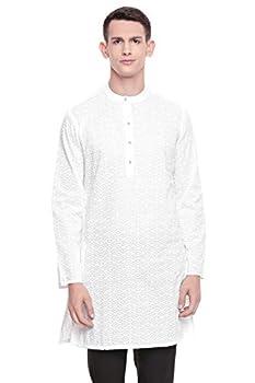 In-Sattva Men s Indian Mandarin Collar All Over High Embroidered Kurta Tunic  White Diamond AO   MD