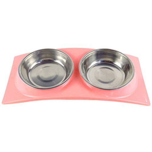 Balacoo Ciotole per Cani Doppie Ciotola in Acciaio Inossidabile con Tappetino plastica Antiscivolo Animali Domestici Gatti e (Rosa)