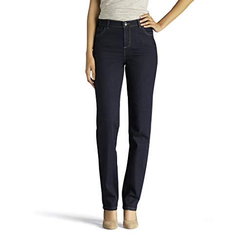 Lee Women's Instantly Slims Classic Relaxed Fit Monroe Straight Leg Jean, Heritage Blue, 4 Petite