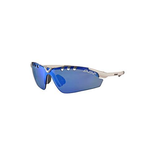 EASSUN Gafas de Running X-Light Sport, Solares Cat 2 o 3, Ultraligeras - Blanco, Azul Espejo, Cat 2