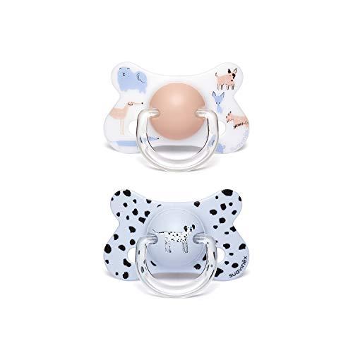 Suavinex - Pack 2 chupetes para bebés +18 meses. con tetina anatómica látex. color Perritos Azul