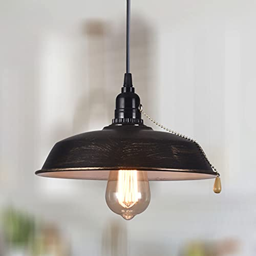 Industrial Oil Rubbed Bronze Hanging Pendant Light Pull Chain On/Off Switch Adjustable Height Ceiling Light Fixture for Farmhouse Kitchen Island Basement.