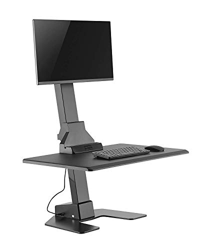 VonHaus Dual Monitor Electric Sit-Stand Desk Riser for Standing or Sitting Desk Converter with Adjustable Height, Tilt, Swivel, Cable Management - Fits Up to 32' Monitors VESA 100x100