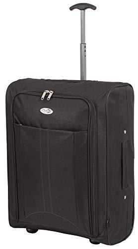 CABIN GO 5630 trolley economy - Trolley morbido 2 ruote idoneo Ryanair Easyjet 55x40x20 cm ultra leggero utilizzabile come bagaglio a mano di dimensioni standard.NERO-NERO