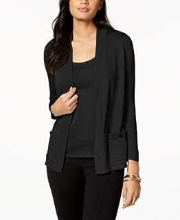 ANNE KLEIN Womens Black Long Sleeve Scoop Neck Sweater US Size: L