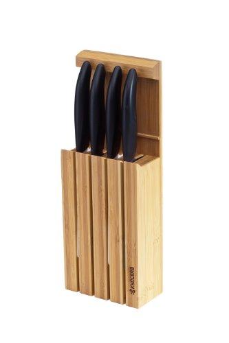 Kyocera Keramikmesser Set- 4 Messer Griff schwarz + Messerblock + Schneidunterlage in Weihnachts-Geschenkverpackung