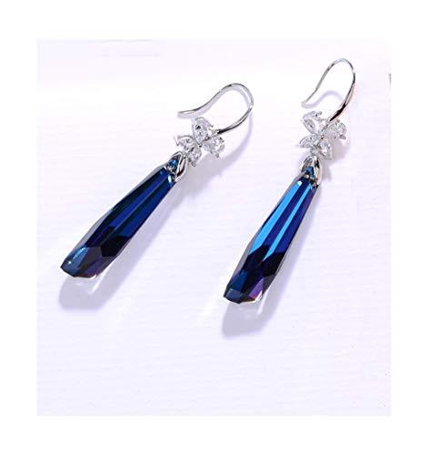 Jambala 925 Pendientes de Cristal Azul Plateado, Eardrops Colgante Personalizado de Moda