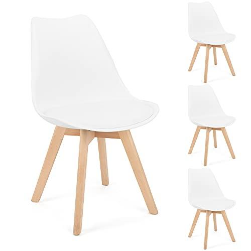 BlueOcean - Juego de 4 sillas de comedor, patas de madera maciza, diseño retro, sillas de diseño clásico, de piel...