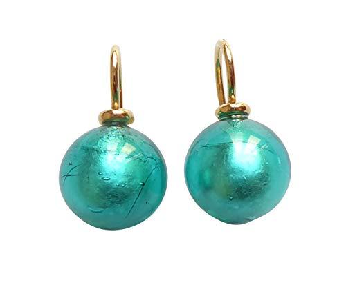 Pendientes colgantes de cristal de Murano verde lagún con perlas de 12 mm de diámetro, plata de ley chapada en oro 585, trabajo de orfebrería artesanal único, llamativo