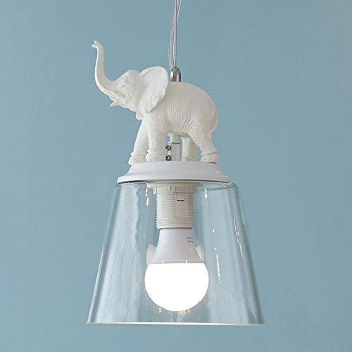 KMYX plafondlamp, voor binnen, wit, olifant, kunsthars, creatief, kleine kroonluchters van glas, lampenkap restaurant, decoratie, woonkamer, hal, E27 fitting