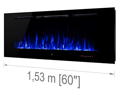 "Noble Flame Paris 1530 (153 cm/60 "") - Chimenea Eléctrica Chimenea de Pared Estufa Chimenea - Montaje en Pared Mando a Distancia - 14,5 cm Profundi"