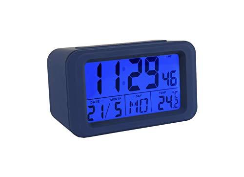 Fisura CL0824 Reloj Despertador Digital con Pantalla LCD con Luz Nocturna Fecha | Hora | Día | Temperatura/Despertadores Digitales Colores a Elegir con Diseño Original, Color Azul Oscuro 12x5x7 cm