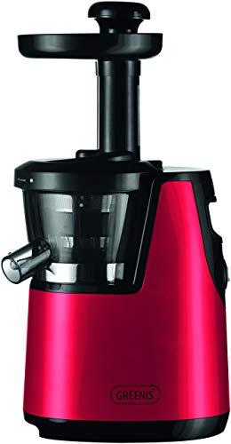 Saro Greenis Slowjuicer – multifunctionele sapcentrifuge voor groenten, fruit, noten, ijs enz. (saphoeveelheid tot 85%, inductiemotor (65 rpm), 3 zeven, 2 containers, Tofu-Box, BPA-vrij), rood