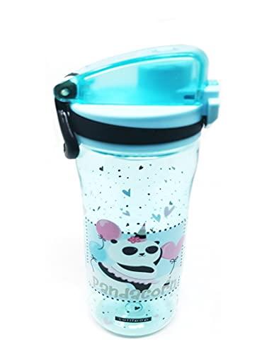 Borraccia sottile a prova di perdite, per bambini, con colino di anidride carbonica, senza BPA, 600 ml, per scuola, parco giochi, sport all'aperto (Panda Orso)
