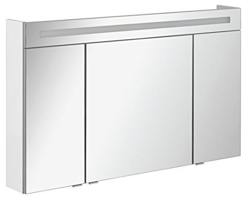 FACKELMANN Spiegelschrank B.CLEVER/dreitürig/Spiegelschrank mit gedämpften Scharnieren/Maße (B x H x T): ca. 120 x 71 x 16 cm/hochwertiger Spiegelschrank/Möbel fürs WC und Bad/Korpus: Weiß