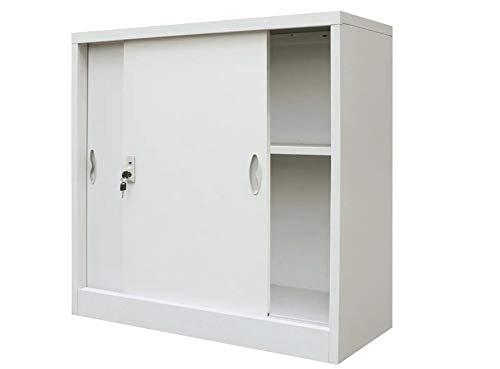Armario de escritorio con estante ajustable, armario de escritorio con puerta bloqueable, organizador de escritorio, archivador de respaldo metálico para oficina, dormitorio, escuela, 90 x 40 x 90 cm