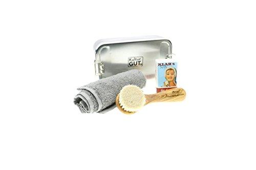 Verzorgingset - Set van gezichtsmassageborstel van olijfhout met 100% zuiver geitenhaar + heldere zeep 100g + kleine handdoek in praktisch vouwdoosje, made in Germany