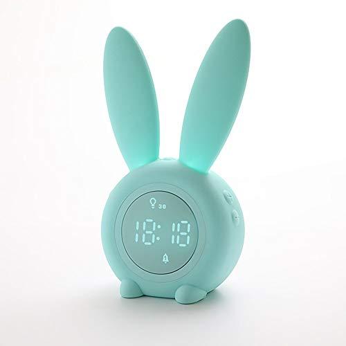 OMJNH Despertador, Alarma temporizada USB de Carga de la lámpara de cabecera luz de la Noche de inducción, Adecuada para el Estudio, Oficina, Dormitorio, Sala de Estar (Verde)