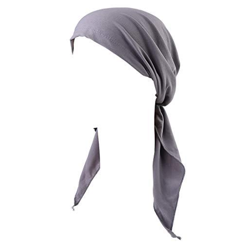 YOURPAI Pañuelos para mujer, turbante de quimioterapia, cabeza turbante pre atada bandana cubierta de pelo de color sólido gris