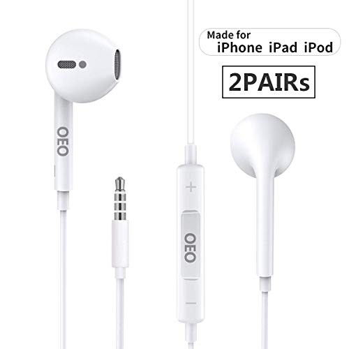 iPhone Earbuds with 3.5mm Headphone Plug,[ MFi Certified] Mic Call+Volume Control for iPhone Earphones Compatible with iPhone 6s/6plus/6/5s,Android,PC in-Ear Headphone Headset -2PACK