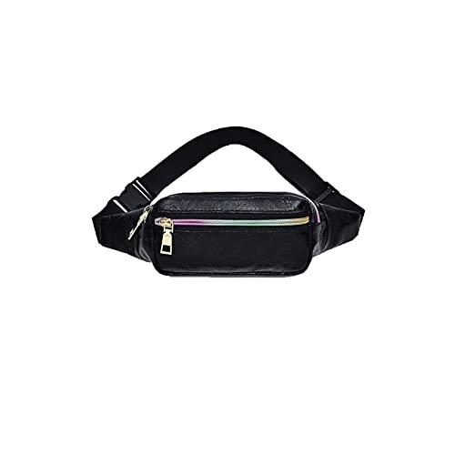 Yuxahiugyb Bolso Paquetes de la Cintura, Fanny Pack Slim Shiny Cintura Bolsa Moda Bolsa Bolsa de Viaje Hip Bolsas para Mujer Moblie Tarjeta Teléfono (Color : Black)