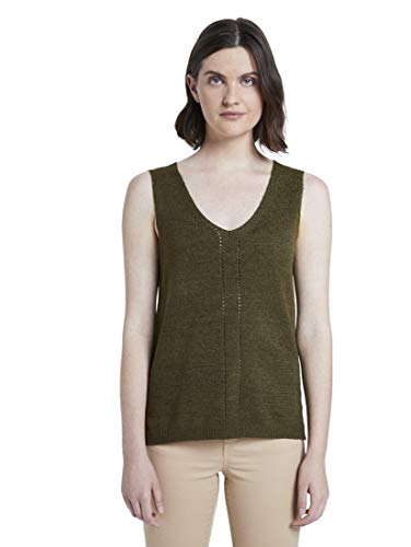 TOM TAILOR Damen V-Neck Bluse, Grün ( 10373 - Woodland Green ) , L