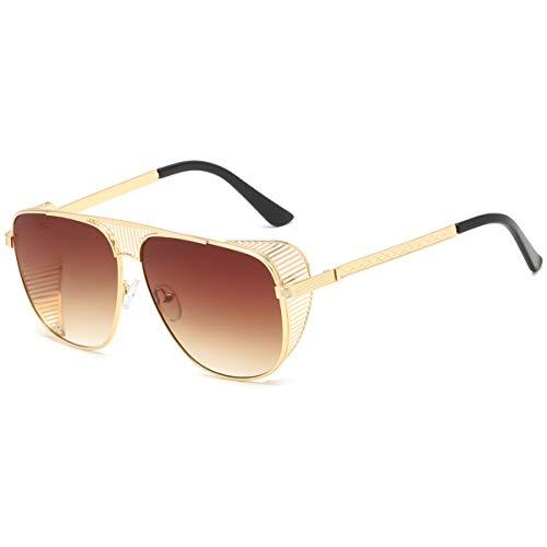 Retro Steampunk Style Sonnenbrille für Männer Frauen übergroße Pilot Metal Frame Sonnenbrille Schilde Sonnenbrille UV400 Schutz