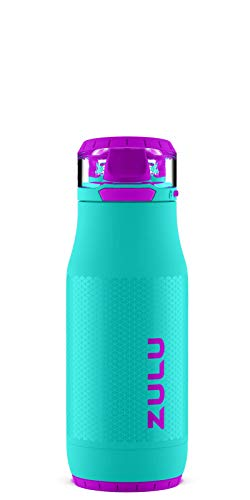 ZULU Chase Stainless Steel Leak Proof Kids Water Bottle with Anti-Microbial Spout and Flip Lid, 14 Ounce, Aquaviva