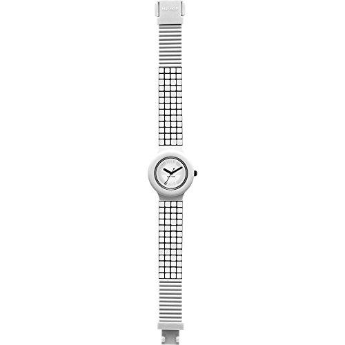 Orologio HIP HOP donna MOSAIC quadrante bianco e cinturino in silicone bianco, movimento SOLO TEMPO - 3H QUARZO