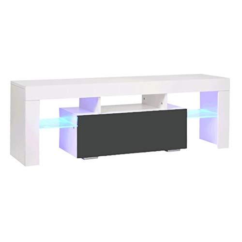 TV-kast met LED-licht, TV Media Unit, 130 cm TV Console Multimedia Center, TV Stand, High Gloss TV Bureau met opslag Kasten & Glazen plank, Woonkamer Meubels