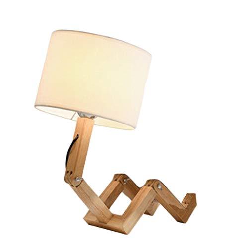 Lámparas de Mesa Robot Forma LED lámpara de Mesa Plegable Ajustable Plug Flexible Light Reading Madera cabecera de la Tela de la lámpara Casa (Color : EU Plug, tamaño : Button Switch)