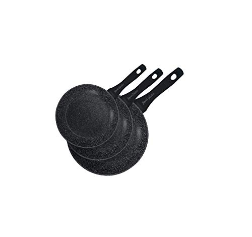 Imperial IMFFM-BLK Kochgeschirr-Set für Induktionskochfelder, 3 Pfannen mit Steinbeschichtung, 20 24 28 cm, Schwarz, für alle Herdarten geeignet