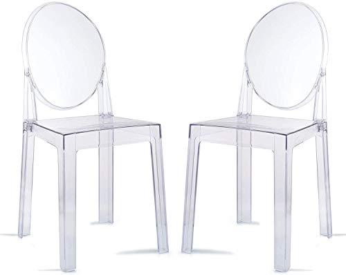 LAFII.T Ghost Chair 2PCS Sedie da Pranzo Sedia da Trucco Trasparente, Sedia da Pranzo Stile Fantasma, Sedia Moderna - Rimovibile e impilabile (Trasparente, 2PCS)