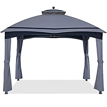 ABCCANOPY Replacement Canopy Top and Corner Curtains for Lowe s Allen Roth 10X12 Gazebo #GF-12S004B-1 Upgraded Rip-Lock Fabric with Stripe Design  Gray