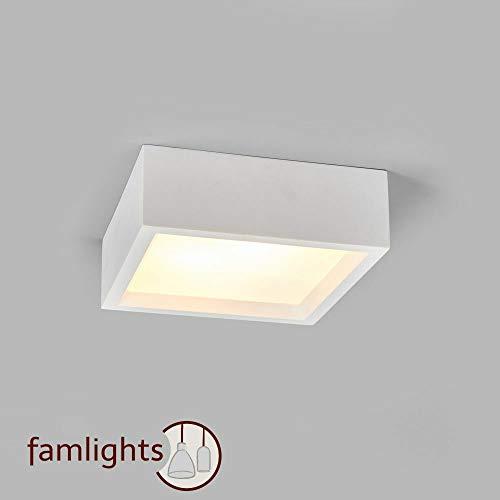 famlights Gips-Deckenleuchte Patrick, weiß | Moderne Deckenleuchte Deckenlampe Flurleuchte Wohnzimmer-Leuchte edel Schlafzimmer-Leuchte individualisierbar Gipsleuchte Küchen-Lampe Eingangsbereich