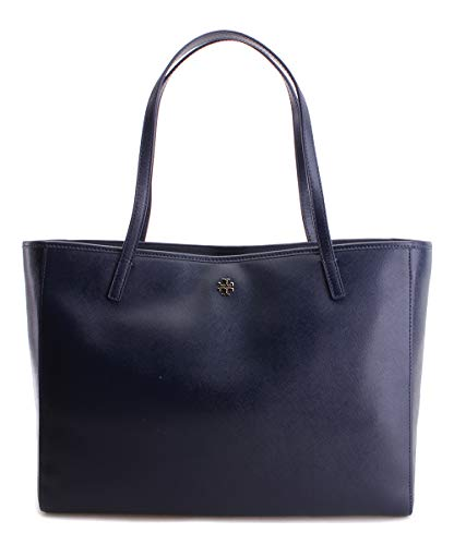 Tory Burch Caitlin Patent Saffiano Leather Black, Gold Tote Bag