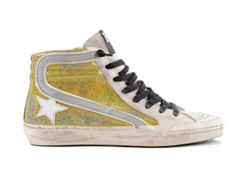 VCEGGDB Mujeres Francia Cuero Zapatillas Zapatillas Zapatillas Cacual Zapatos Alto Top Slide, color Amarillo, talla 40 EU