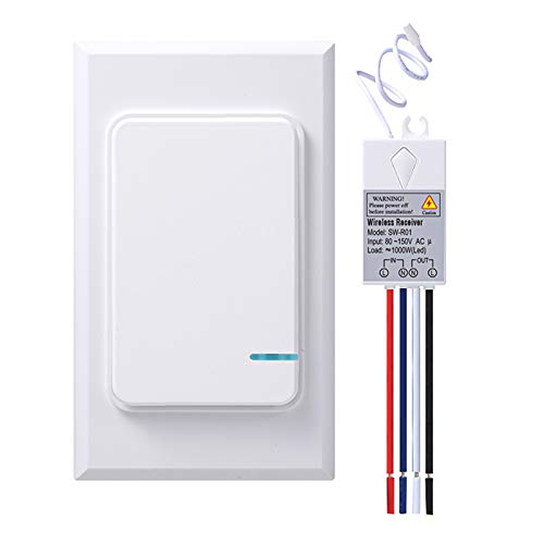 Thinkbee Wireless Light Switch and Receiver Kit, Mini Remote Control Switch with Wall Plate for Ceiling Lights, Lamps, Lighting Fixture, No Wiring No WiFi Needed, Outdoor 1969ft Indoor 328ft RF Range