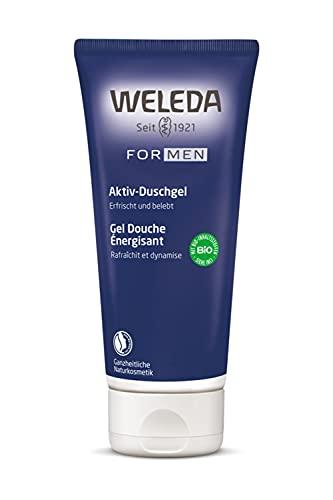 WELEDA For Men – Active Fresh Aktiv Duschgel - erfrischende Naturkosmetik Bio Pflegedusche mit maskulinem Duft, pflegende Reinigung für Haut, Körper und Gesicht (1 x 200 ml)