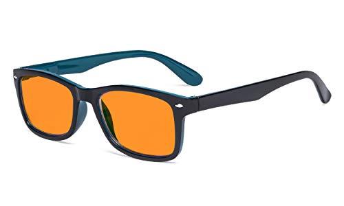 Eyekepper Occhiali Luce Blu con Lenti Filtro Tinti Arancio per Dormire di Notte Donne Uomini - Blocco Raggi UV Occhiali da Lettura per Computer - Nero Blu +0.50