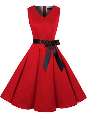 ihot - Vestito da donna vintage anni '50, stile Rockabilly, motivo floreale con stampa, per cocktail, serate, swing, feste A15-rosso XXXL