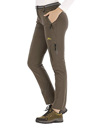 DAFENP Pantalones Trekking Mujer Impermeable Pantalones de Escalada Senderismo Alpinismo Ligero Secado Rápido Transpirable Aire Libre KZ9919W-ArmyGreen-XS