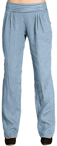 CASPAR Fashion Caspar KHS020 Damen Casual Leinen Hose, Größe:M - DE38 UK10 IT42 ES40 US8, Farbe:Jeans blau