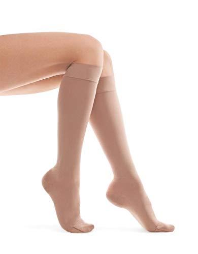 Calcetines de rodilla con compresión/Calcetines de compresión/Unisex 23-32 mmHg (2 clases médicas) X-Small Beige