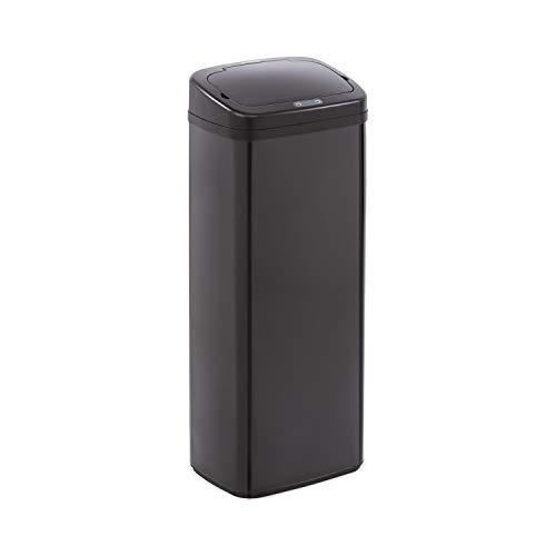 Klarstein Cleansmann cubo de la basura con sensor   50 litros de volumen, sin tocarlo: apertura y cierre automáticos, soporte para bolsa de basura, materiales: tapadera de plástico ABS, negro